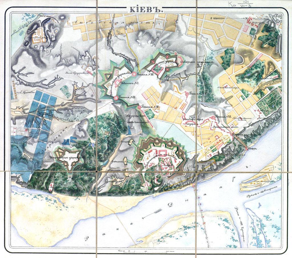 Карта Киева 1833 года