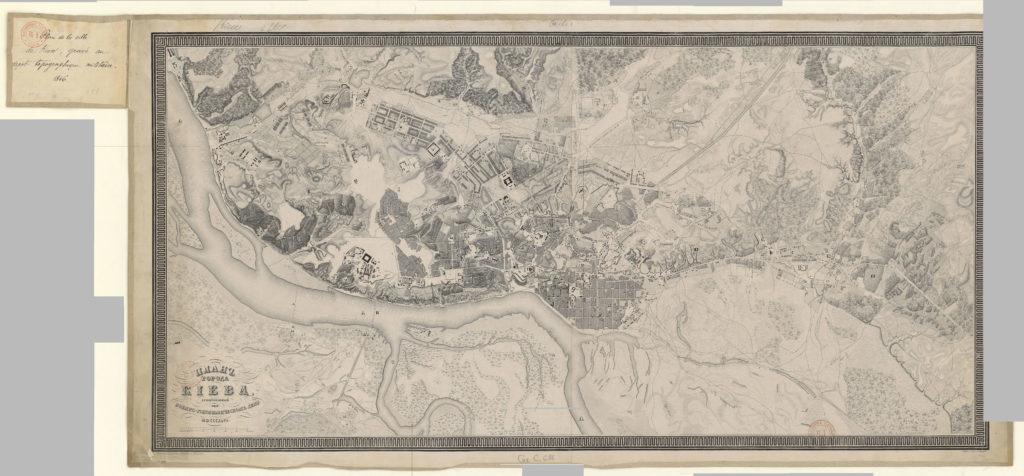 План Киева 1846 года гравированный при военно-топографическом депо