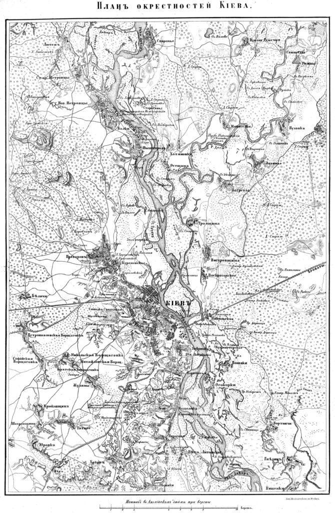 Карта Киева и окрестностей 1850 года