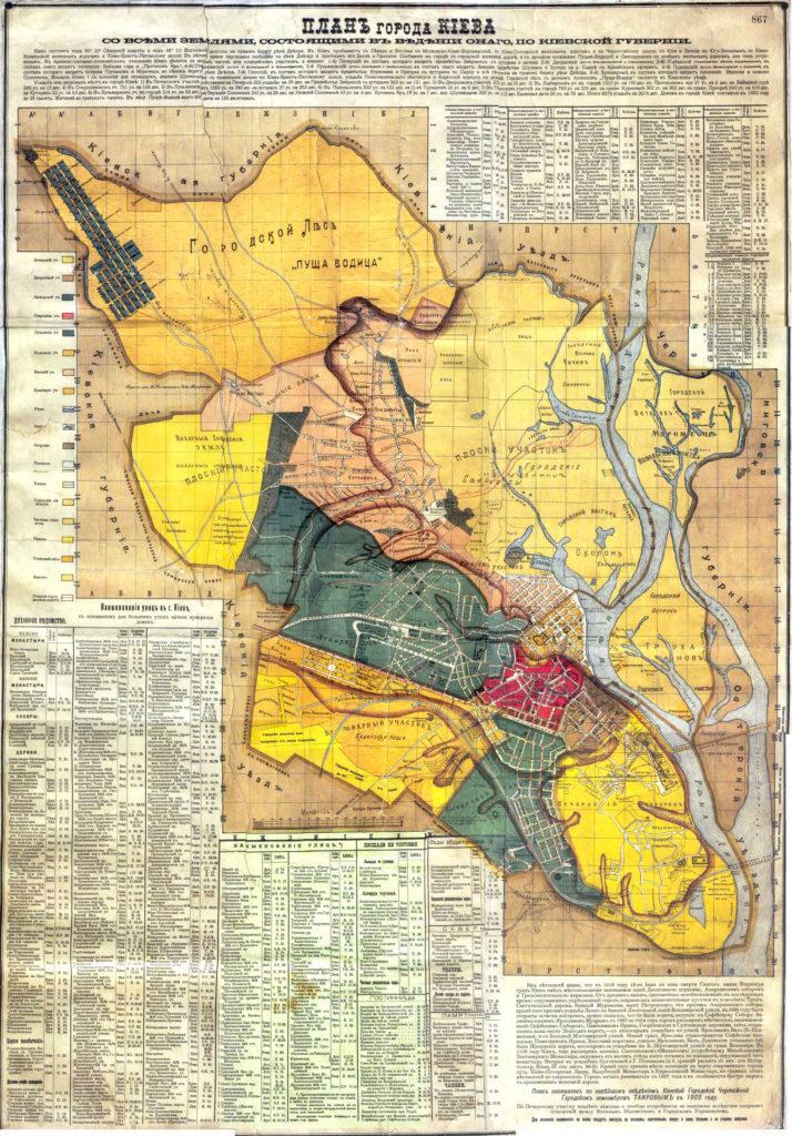 Карта Киева 1902 года со всеми землями, которые находятся в его подчинении.