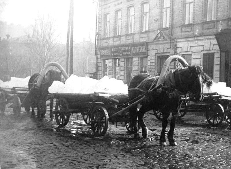 1920-і рр. Так доставляли колоту кригу у київські крамниці, ресторани, аптеки і житлові будинки.