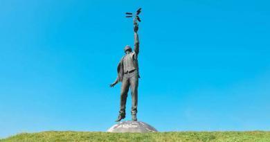 Памятник Игорю Сикорскому возле аэропорта «Киев» в Жулянах