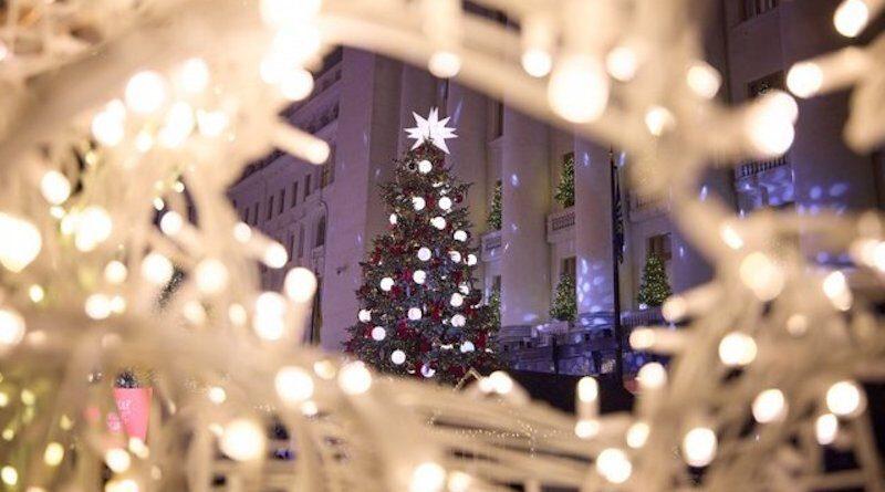 елка возле офиса президента