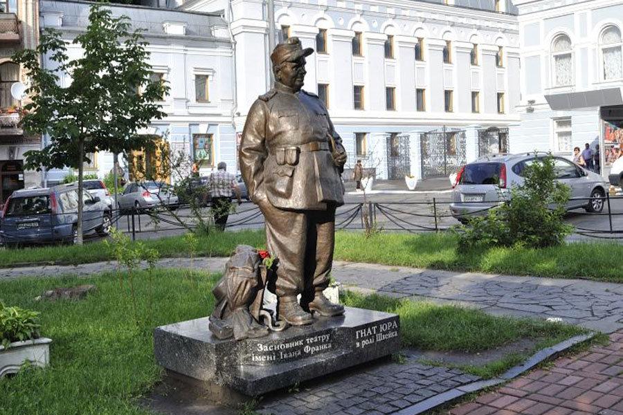 Пам'ятник акторові Гнату Юрі в ролі Швейка у Києві